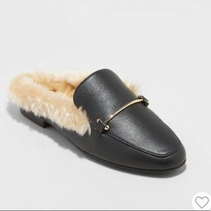A New Day Black Faux Fur Slide Loafer